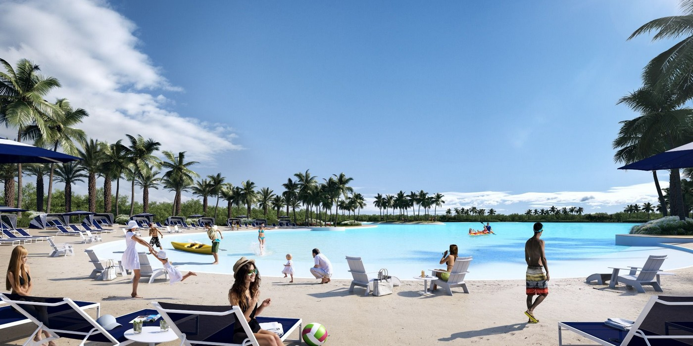 People Enjoying a Day in Laguna Solé at The Shoreline at Solé Mia Apartments in North Miami